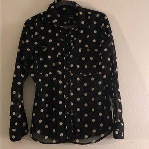 Black polka dot Bouse